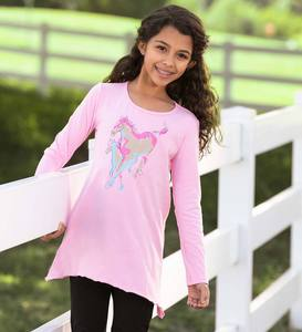Long-Sleeve Horses High-Low Tunic