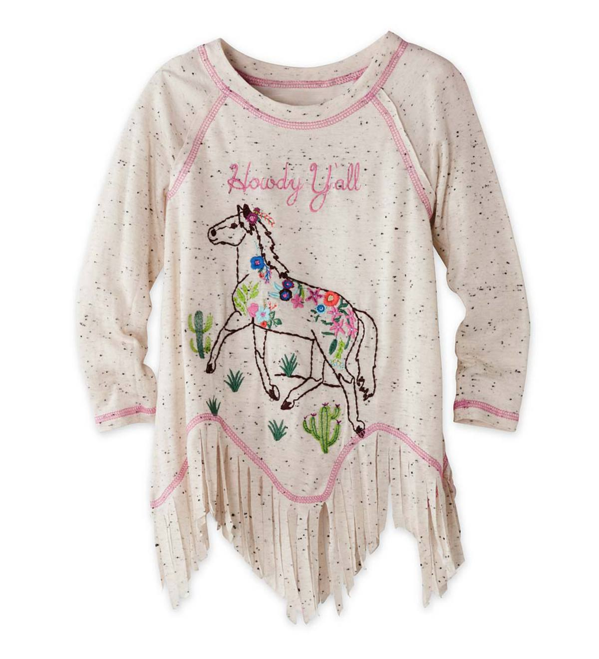 Fringed Horse Top - Ivory - 18M