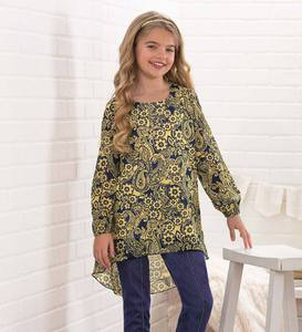 Long-Sleeve High-Low Paisley Chiffon Tunic