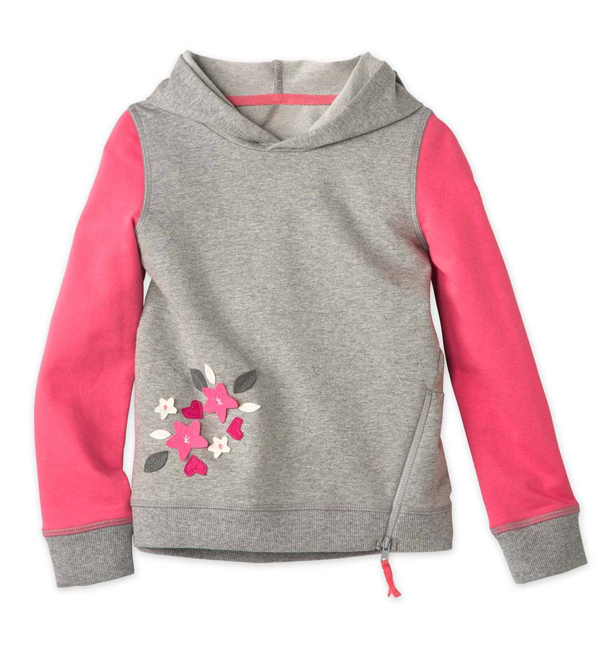 Long-Sleeve Hooded Flower Patches Sweatshirt - GY - 14