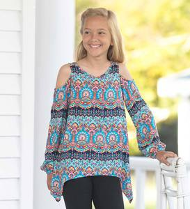 Long-Sleeve Open-Shoulder Mixed-Print Tunic
