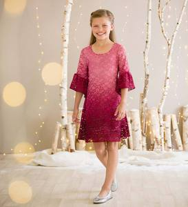 Ombre Lace Bell-Sleeve Dress