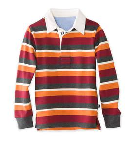 Long-Sleeve Rugby Spice-Stripe Polo