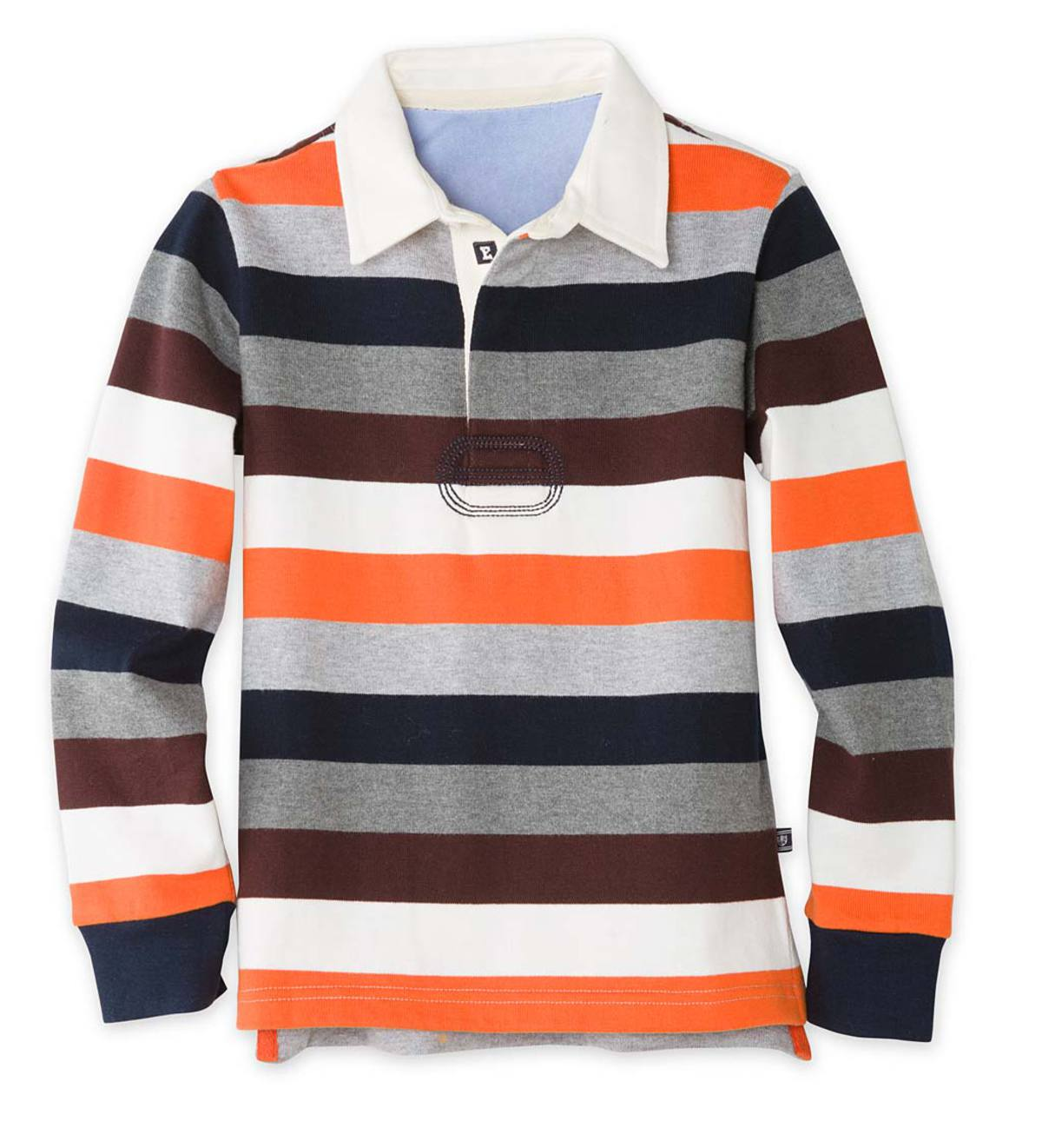 Long-Sleeve Orange Stripe Rugby - OR - 2T