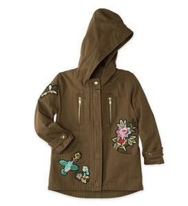 Hooded Jacket with Patches - Dark Green - 10