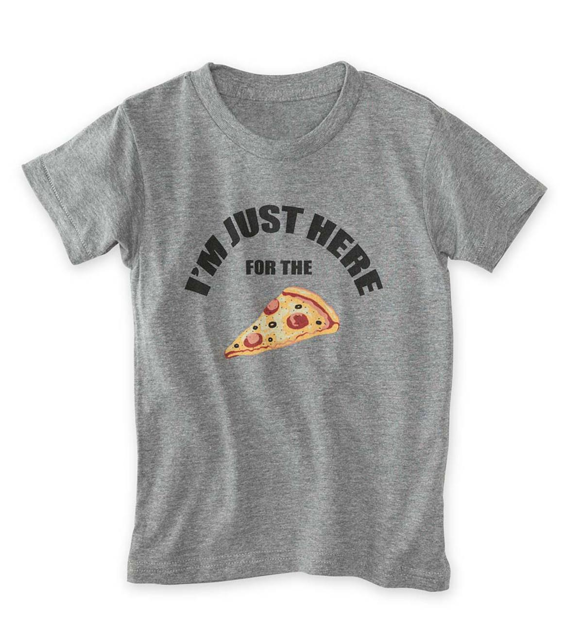 "Short-Sleeve ""I'm Just Here for the"" Pizza Tee - GY - 10"