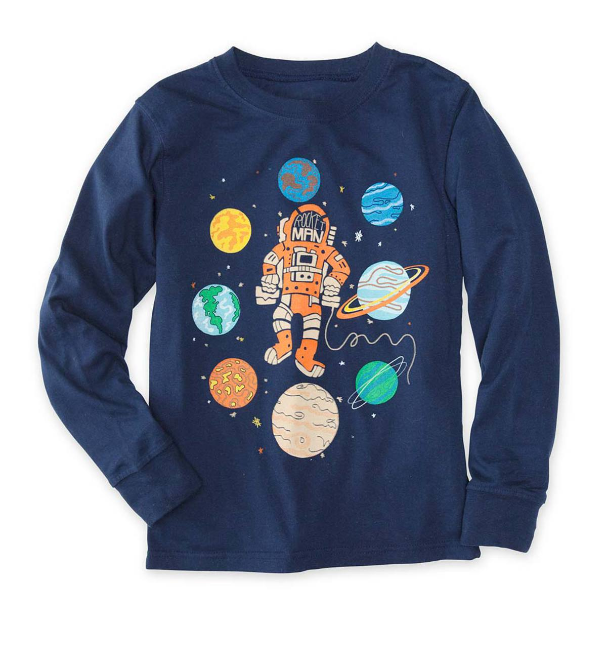 Long-Sleeve Space Man and Planets Tee - Midnight - /12