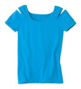 Short-Sleeve Open-Shoulder Tee