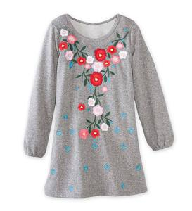 Long-Sleeve Embroidered Flowers Heather Dress