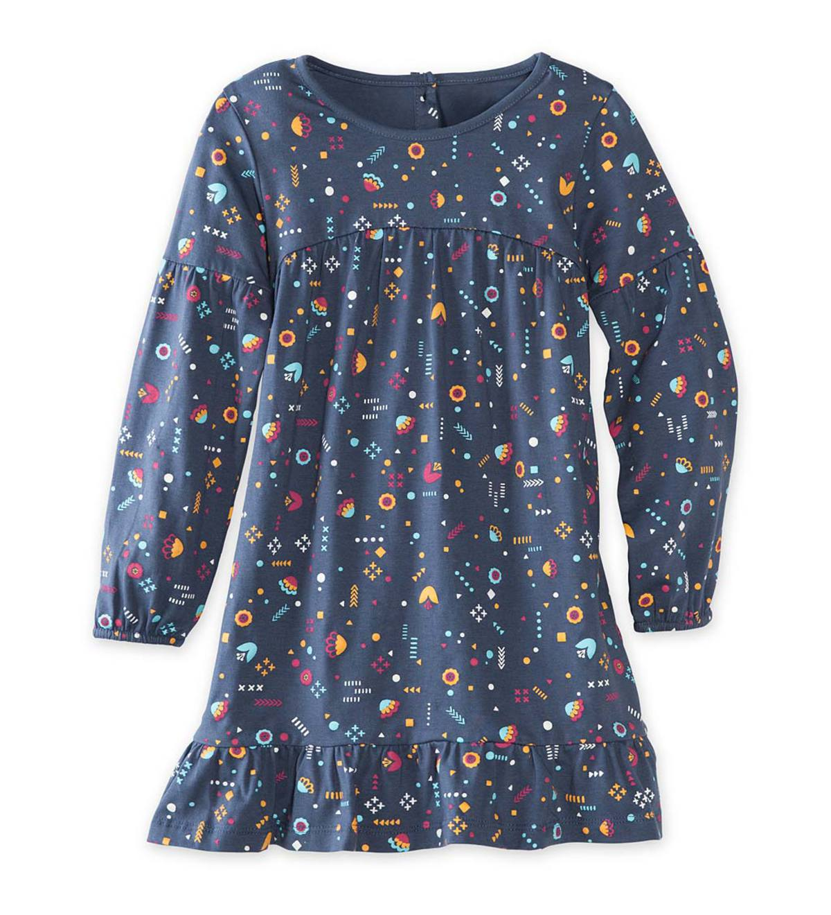 Long-Sleeve Allover Print Dress - IND - 14