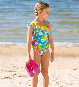 Tropical Print Swimsuit - Yellow - 12/14