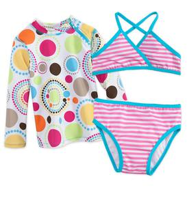 Dot & Stripe Three-Piece Rash Guard Set - Pink - 10