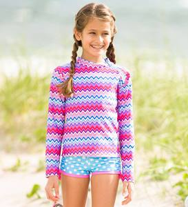 Chevron & Dot Three-Piece Rash Guard Set