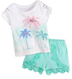 Palm Tree Tee & Shorts Set