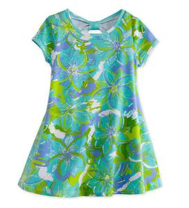 Bow Back Tunic - Blue/Green Floral - 3T