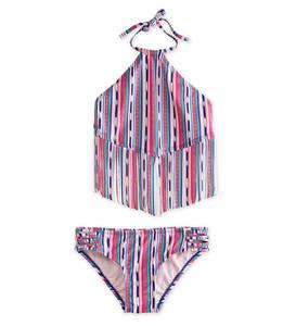 Stripe Fringe Two-Piece Swimsuit