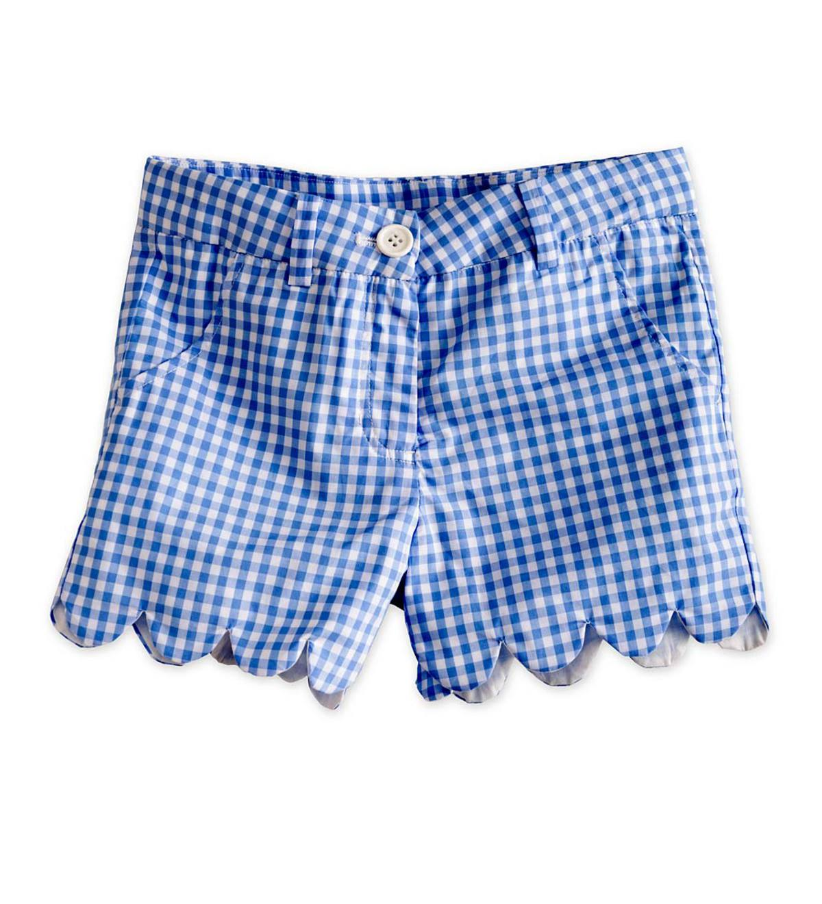 Blue Scallop Gingham Shorts - Blue - 2T