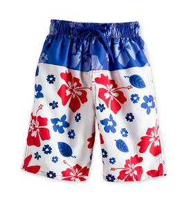 Hibiscus Stripe Swim Trunks