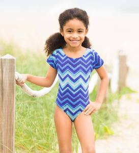 Short-Sleeve Swim Suit - Blue - 10