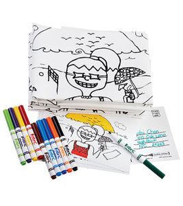 Set of 4 200-Thread Count Cotton Pillowcases with Markers, Greeting Cards and Instructions