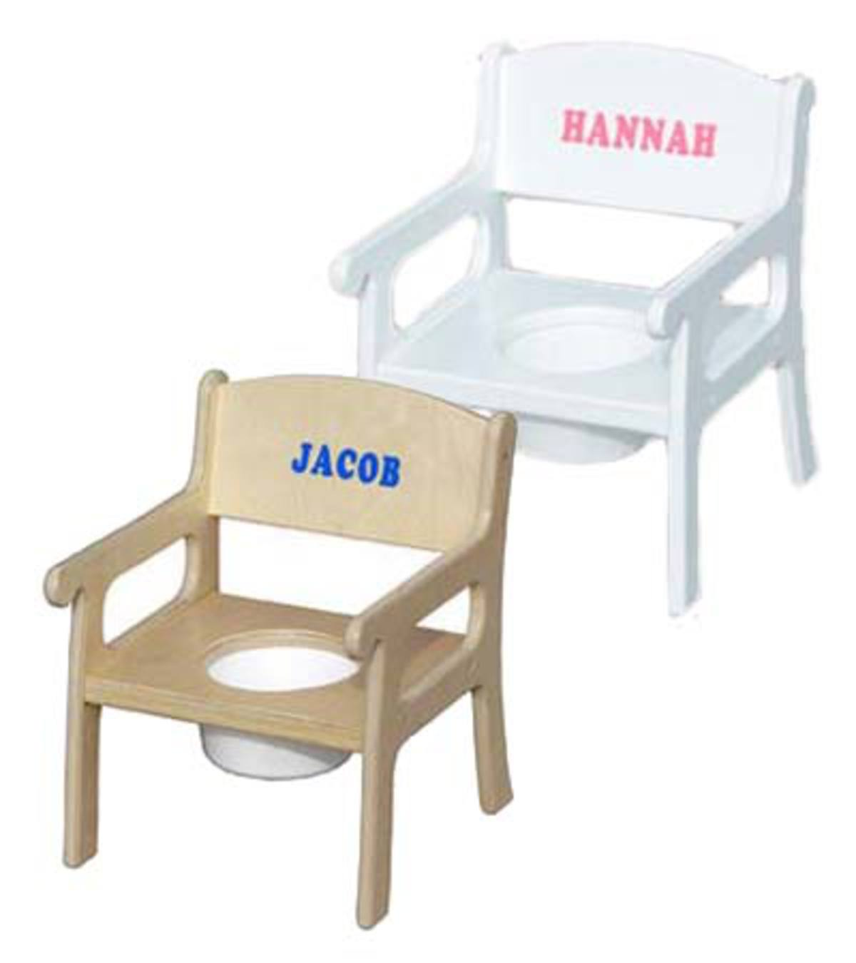 Personalized Child Potty Chair - Natural-Blue Lettering