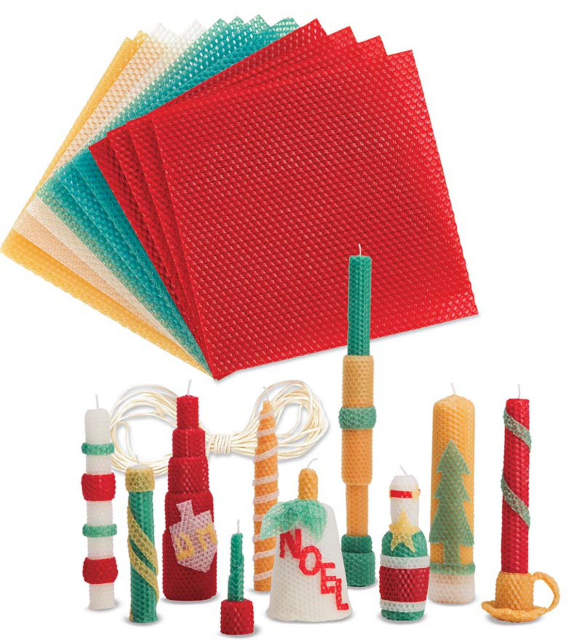 Winter and Holiday-Themed Beeswax Candle Rolling Craft Kits - Holiday