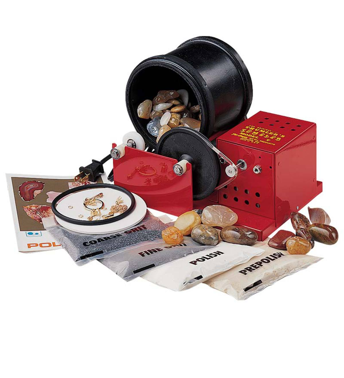 Heavy-Duty Rock Polishing Kit with Rubber Tumbling Barrel and Assorted Rocks