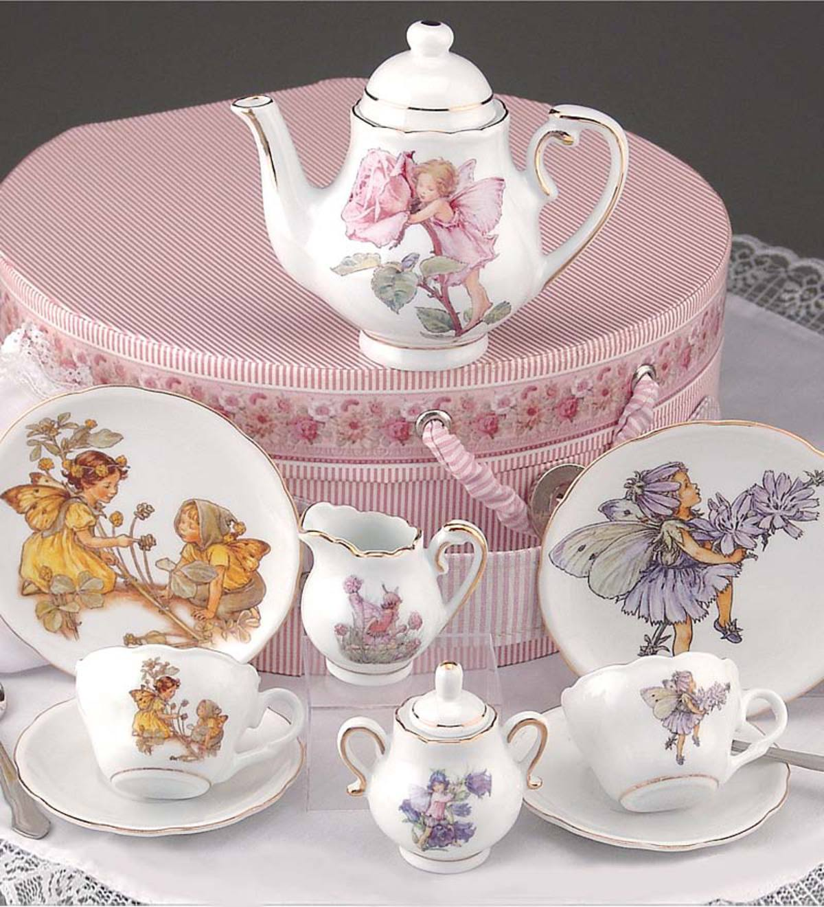 Dishwasher Safe Porcelain Flower Fairy Tea Set with Custom Hatbox Storage Container
