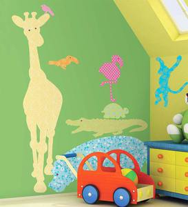 Set of 24 Colorful Patterned Jungle Animal Decorative Silhouette Wall Stickers