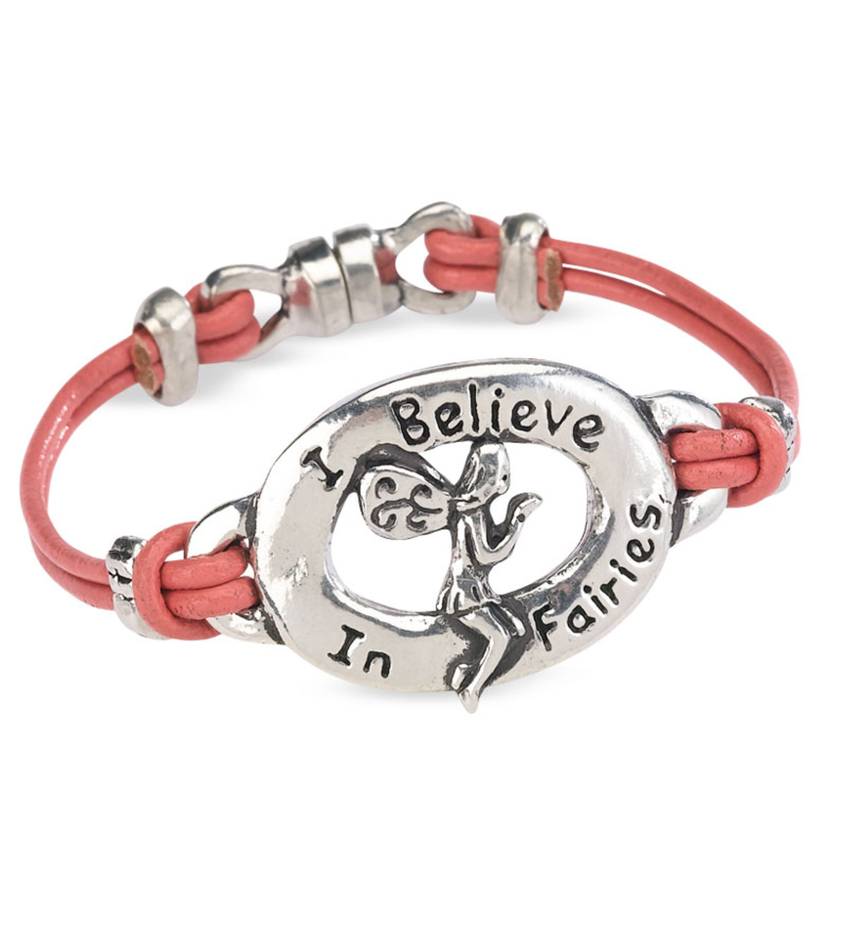 "5"" Double Corded Pink Leather Bracelet with Engraved Pewter Decoration"
