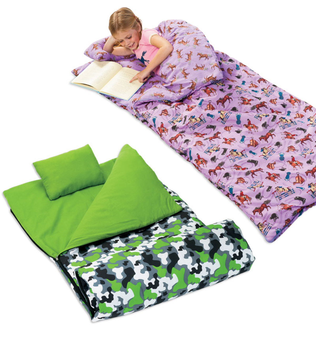 100% Super-Soft Cozy Cotton Machine Washable Flannel Kid's Sleeping Bag with Pillow and Storage Bag