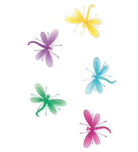 Set of 10 Decorative Nylon Butterflies and Dragonflies