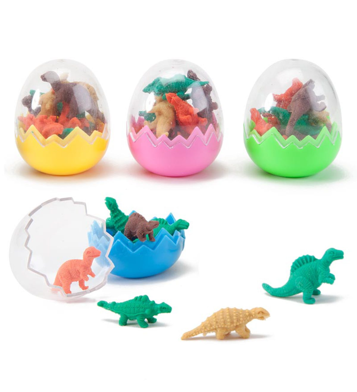 Dinosaur Eggs with 8 Mini Dino Erasers, set of 40