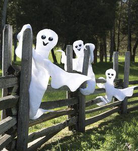 "40"" Nylon Peek-a-Boo Ghost with Wire Frame"