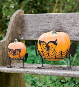 Set of 2 Owl Pumpkin Holder Stands