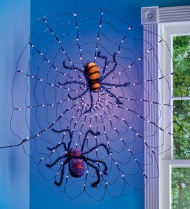 LED Spider Web and Set of 2 Sparkly Spiders