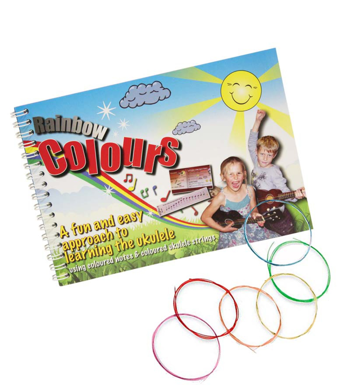 Rainbow Colours Ukulele Strings and Book Set