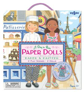 Stand-Up Paper Dolls with Re-usable Stickers and Double-Sided Play Scene