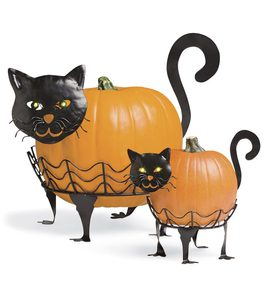 Bright-Eyed Cat Pumpkin Holders