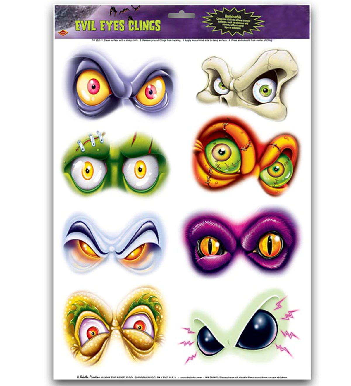 Creepy Eye Clings Halloween Decorations, set of 16