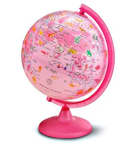 Light-Up Animals-around-the-World Pink Globe