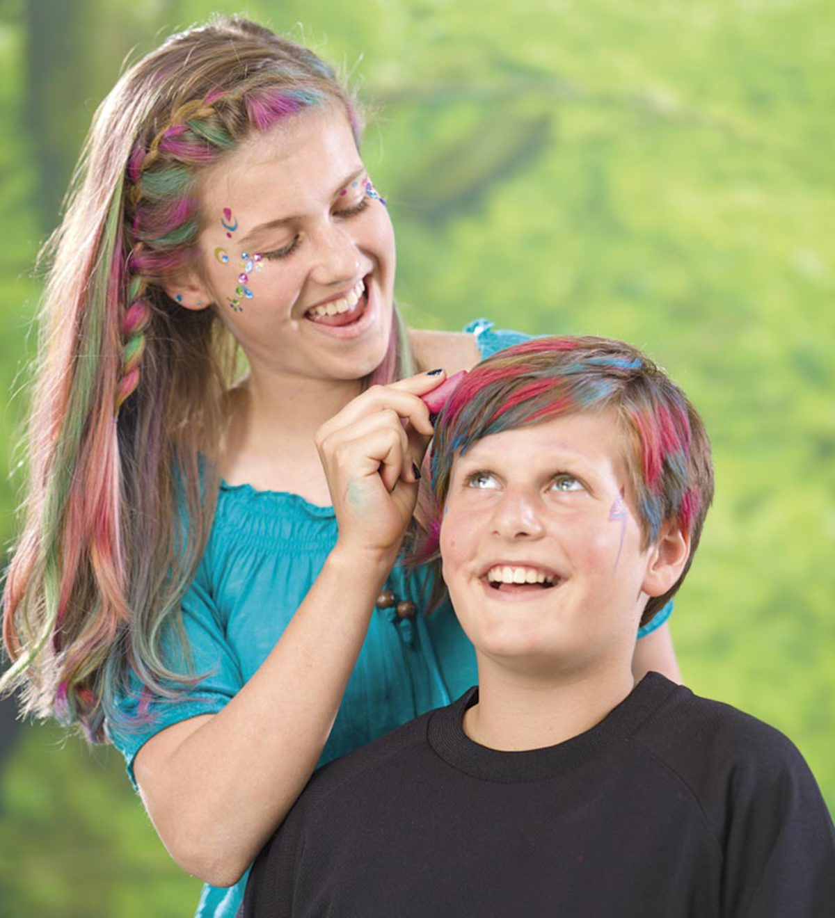 Pink and Green Hair Chalks