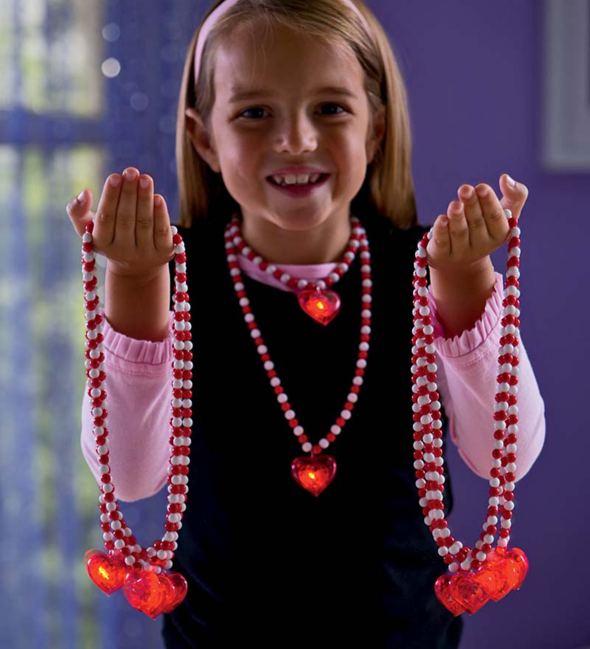 Set of 10 Light-Up Heart Necklaces