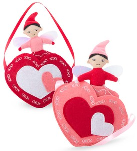Valentine Fairy in a Heart Pocket - Pink