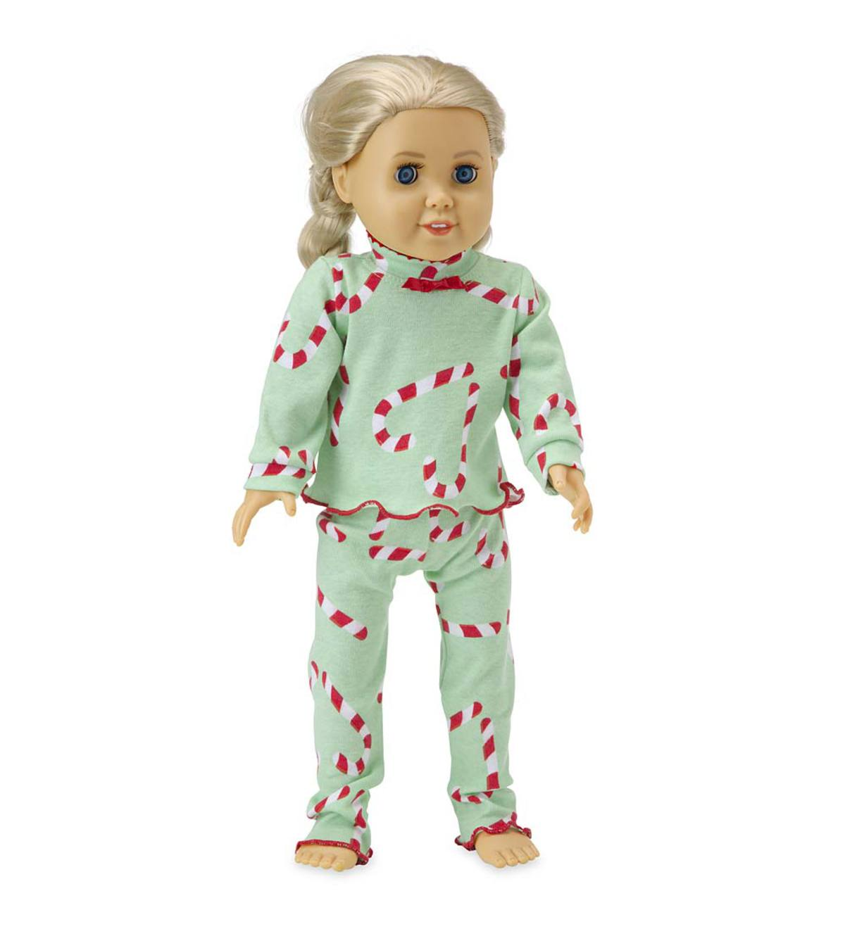 Heart Candy Cane Doll Pajamas