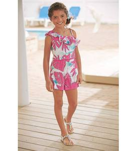Tropical Ruffle Shoulder Romper - Multiple - 10/12
