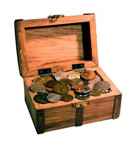 Treasure Chest of 50 Coins from Around the World