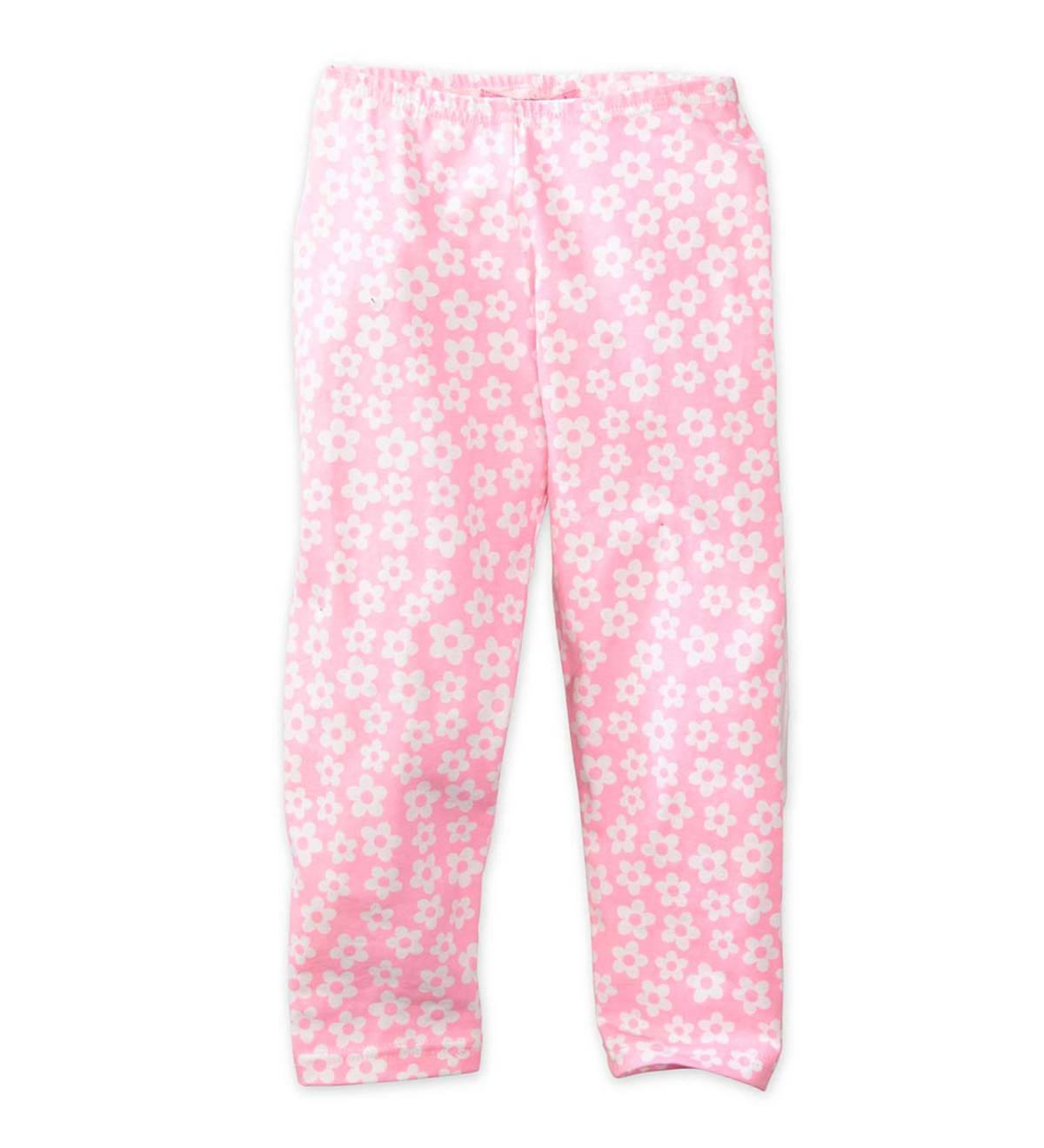 Flower Print Capri Leggings - Pink - 10