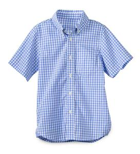 Short Sleeve Gingham Button-Up Shirt