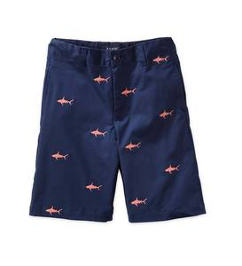 Navy Embroidered Shark Chino Shorts - Navy - 10